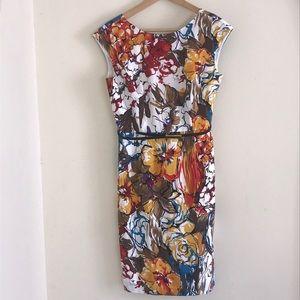 ELLEN TRACY COLORFUL PAINTED FLOWER PRINT DRESS
